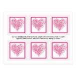 6 etiquetas rosas claras del favor del boda del co tarjeta postal