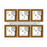 6 Fall Tree Wedding Favor Tags Post Cards