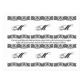 6 Favor Tags Black White Damask Lace Print Pattern Postcard