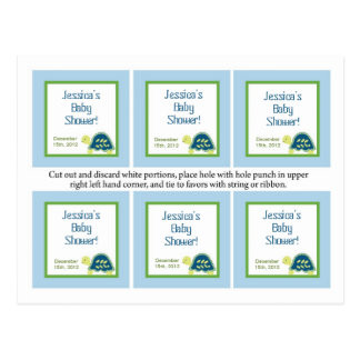 6 Favor Tags Blue Sea Turtles Post Cards