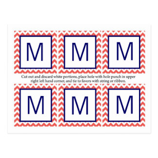 6 Favor Tags Coral Navy Blue Chevron Name Focus Post Cards