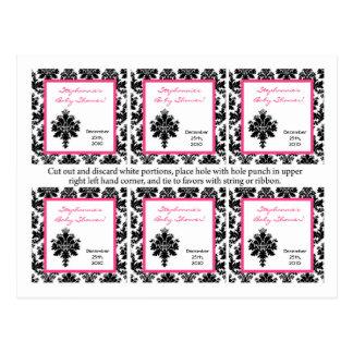 6 Favor Tags Hot Pink Black Damask Postcard