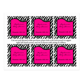 6 Favor Tags Hot Pink Zebra Print Postcard