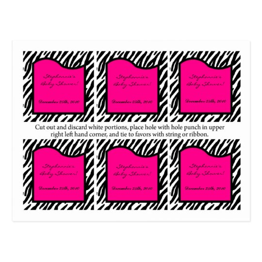 6 Favor Tags Hot Pink Zebra Print Postcard