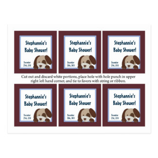 6 Favor Tags Lil League Puppy Dog Sports Postcards