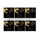 6 Favor Tags Mis XV Gold Black Party Post Card