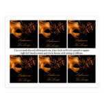 6 Favor Tags Mis XV Orange Black Party Post Card