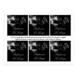 6 Favor Tags Mis XV Silver Black Party Postcard