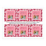 6 Favor Tags Pink Hawaiian Luau Tropical Postcard