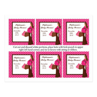 6 Favor Tags Pink Mod Mom Polka Dots Postcard