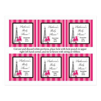 6 Favor Tags Pink Poodle Paris Eiffel Tower Post Cards