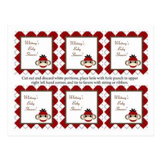 6 Favor Tags Red Sock Monkey Argyle Postcard