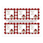 6 Favor Tags Red Sock Monkey Argyle Postcards