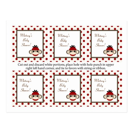 6 Favor Tags Red Sock Monkey Postcard