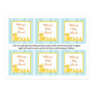 6 Favor Tags Rubber Ducky Bubbles Postcard