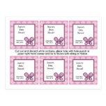 6 Favor Tags Sugar Plum Butterfly Postcard