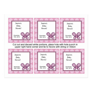 6 Favor Tags Sugar Plum Butterfly Postcard