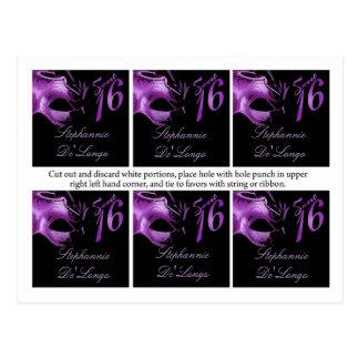 6 Favor Tags Sweet 16 Purple Lilac Black Party Postcard