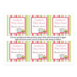 6 Favor Tags Tea Party Pink Pastel Flowers Postcard