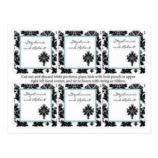 6 Favor Tags Wedding Black Damask Lace Postcard