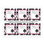 6 Favor Tags Wedding Black Hot Pink Damask Lace Postcards