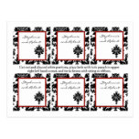 6 Favor Tags Wedding Black Red Damask Lace Post Cards