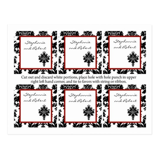 6 Favor Tags Wedding Black Red Damask Lace Postcard