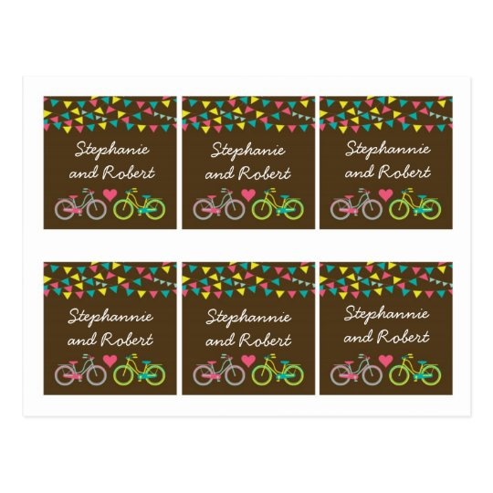 6 Favor Tags Whimsical Love Lovers Bikes Bicycle Postcard