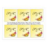 6 Flower Bouquet Wedding Favor Tags Post Cards