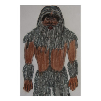 6 ft tall grey Manedsquatch old man Poster