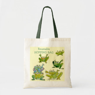 6 Funny Cartoon Frogs Go Green Tote
