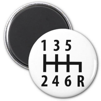 6 gearshift race car black 2 inch round magnet
