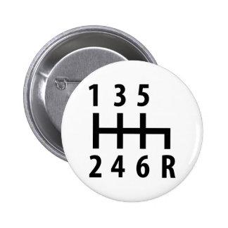 6 gearshift race car black pinback buttons