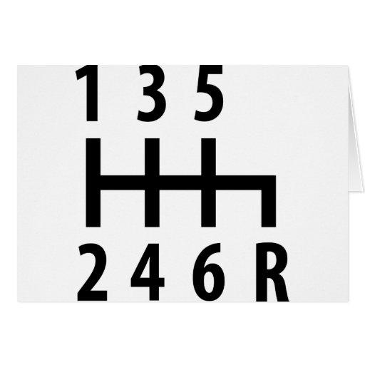 6 gearshift race car black card