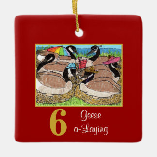 6 Geese a-Laying Cute Animals & Typography Ceramic Ornament