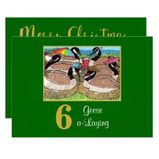 6 Geese a Laying Cute Birds Custom Christmas Card