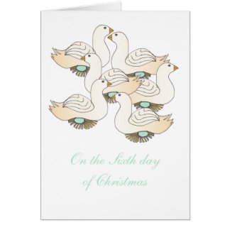 6 Geese a-Laying Greeting Card