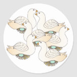 6 Geese a Laying Round Sticker
