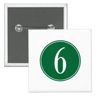#6 Green Circle 2 Inch Square Button