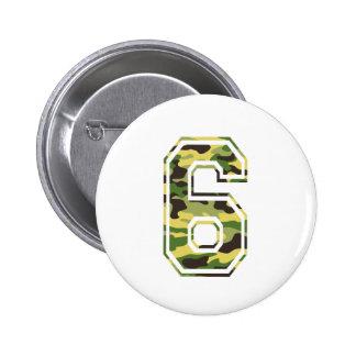 #6 Green & Yellow Camo 2 Inch Round Button