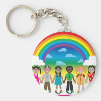 6 happy kids under a rainbow with a colorful backg keychain