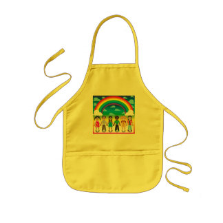 6 happy kids under a rainbow with a colorful backg kids' apron