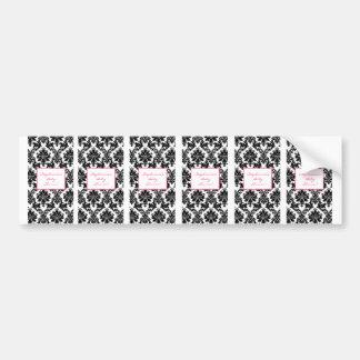 6 Hershey's Miniature Label Hot Pink Black Damask Bumper Sticker