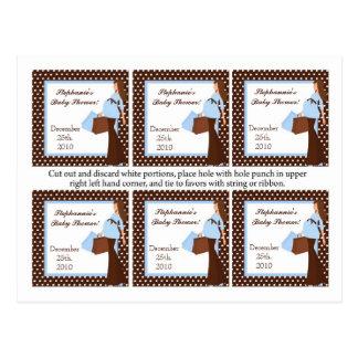 6 lunares azules de la mamá de la MOD de las etiqu Postales
