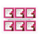6 lunares rosados de la mamá de la MOD de las etiq Postal