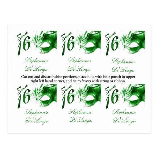 6 máscara del Partido Verde del dulce 16 de las et Tarjetas Postales