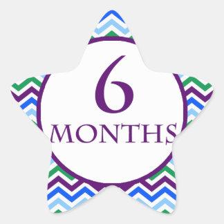 6 meses de jalón de Chevron Pegatina En Forma De Estrella