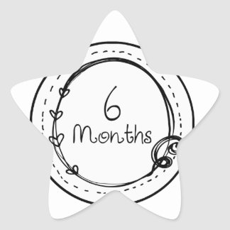 6 meses de jalón del Doodle Pegatina En Forma De Estrella