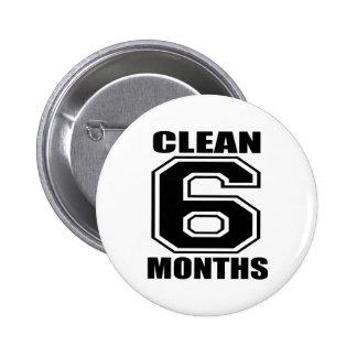 6 meses limpian negro pin redondo de 2 pulgadas
