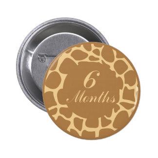 6 Months Animal Print Milestone Button